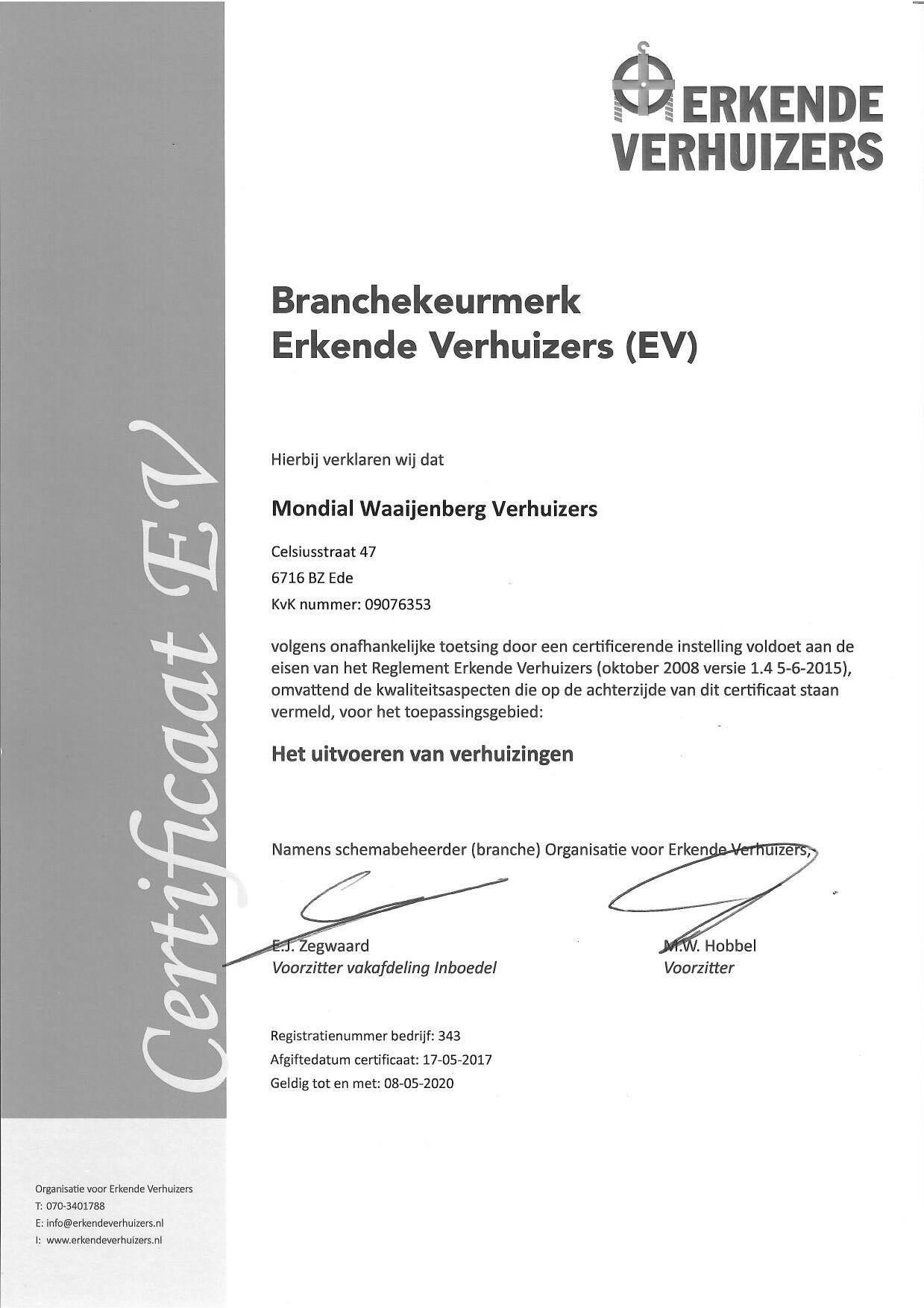 Certificaat Erkende Verhuizers Mondial Waaijenberg Verhuizers